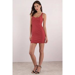 NWT Mink Pink Red Denim Vivian Bustier Dress